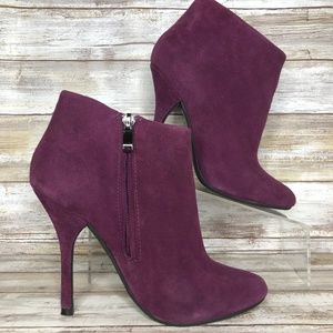 Aldo 6.5M Purple Suede Zip Up Ankle Boots